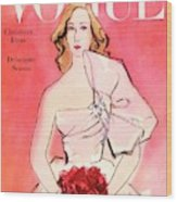 A Vogue Cover Of A Woman With Roses Wood Print