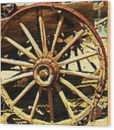 A Wagon Wheel Wood Print
