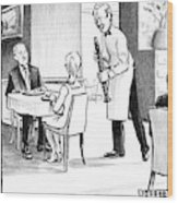 A Waiter Offers Pepper To Two Patrons. His Pepper Wood Print