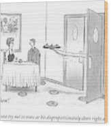 A Waiter Serves A Couple With His Long Wood Print