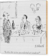 A Waiter Shows A Bottle Of Wine To Two Dinner Wood Print