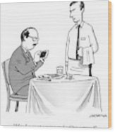 A Waiter Speaks To A Customer Who Is Taking Wood Print