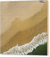 A Walk On The Beach. A Kite Aerial Photograph. Wood Print by Rob Huntley