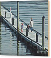 A Walk On The Pier Wood Print