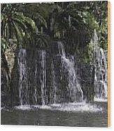A Waterfall As Part Of An Exhibit Inside The Jurong Bird Park Wood Print
