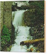 A Waterfall In Spring Thaw Wood Print by Jeff Swan
