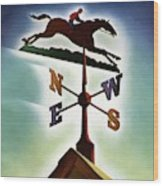 A Weathervane With A Racehorse Wood Print