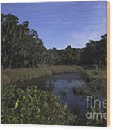 A Wide Expanse Of Marsh Wood Print