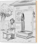 A Wife Talks To Her Beekeeper Husband Who Wood Print