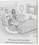A Wife Tells Guests At A Dinner Party Wood Print
