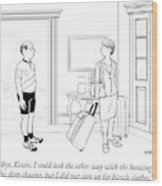 A Wife With Luggage Leaves Her Husband Wood Print
