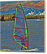 a WindSurfer's Gr8 Ride Wood Print by Joseph Coulombe