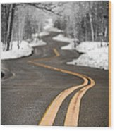 A Winter Drive Over A Winding Road Wood Print