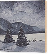 A Winter Evening Wood Print by Monica Veraguth