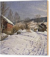 A Winter Landscape Lillehammer Wood Print by Peder Monsted