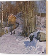 A Winter Landscape With Children Sledging Wood Print