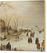 A Winter River Landscape With Figures On The Ice Wood Print
