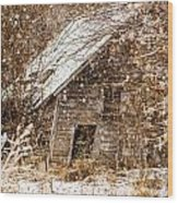 A Winter Shed Wood Print