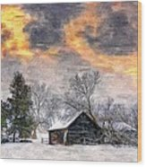 A Winter Sky Paint Version Wood Print