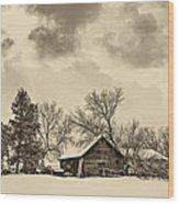 A Winter Sky Sepia Wood Print