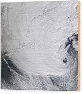 A Winter Storm Over Eastern New England Wood Print by Stocktrek Images