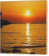 A Winter Sunset In Cape May New Jersey Wood Print