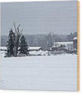 A Wintery View Of A Farm Along Van Horst Road Wood Print