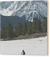 A Woman Bike Riding On The  Snow Wood Print