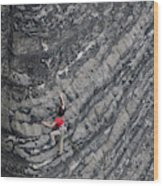 A Woman Climbs Above Her Protection Wood Print
