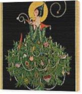 A Woman Dressed As A Christmas Tree Wood Print