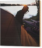 A Woman Exits The Tent At Sunset Wood Print