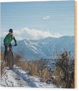 A Woman Fat Biking On The Trails Wood Print
