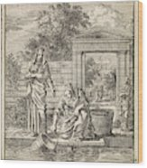 A Woman Fills A Bucket Of Water On A Jetty Wood Print