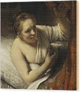 A Woman In Bed Wood Print