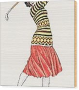 A Woman In Full Swing Playing Golf Wood Print
