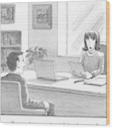 A Woman Interviewing A Man Reads His Resume Wood Print