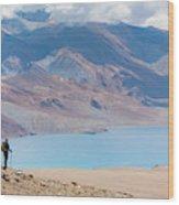A Woman Is Hiking Toward Tsomoriri Wood Print