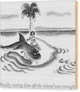 A Woman Is Seen On A Deserted Island With A Shark Wood Print