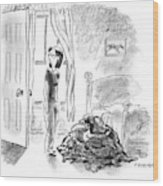 A Woman Is Seen Standing In A Bedroom Next Wood Print