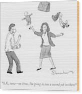 A Woman Juggles Two Children And A Briefcase Wood Print