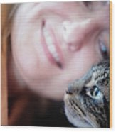 A Woman Lovingly Looking At Her Cat Wood Print