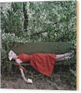 A Woman Lying On A Bench Wood Print