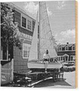 A Woman On Sailboat At Home Wood Print