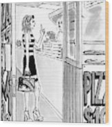 A Woman Orders A Pizza At The Counter Wood Print