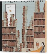 Fall Library Wood Print