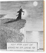 A Woman Runs In The Dark Toward A Cliff Wood Print
