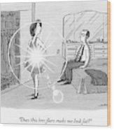 A Woman Shows Her Husband A Shining Lens Flare Wood Print