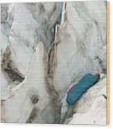 A Woman Sleeping In An Icy Crevasse Wood Print
