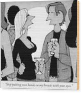 A Woman Speaks To A Man At A Cocktail Party Wood Print