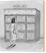 A Woman Stands In Front Of A Bookshelf Of Memoirs Wood Print